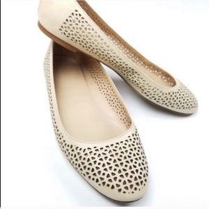 J. Crew Nora nude perforated leather flats…